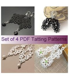Set of 4 pdf Tatting Patterns  tatted lace by #Jewelry #necklace #gold #rings| http://ringslera.blogspot.com