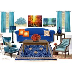 Blue and orange living room. I like the pics in the background.