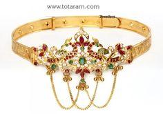 22K Gold 'Peacock' Arm Cuff (armlet) with Ruby: Totaram Jewelers: Buy Indian Gold jewelry & 18K Diamond jewelry