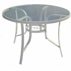 """Metal Round Table 42"""" Garden Patio Furniture Pool Yard Rust Resistant New White #1"""