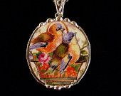 Broken china jewelry necklace pendant oval antique china sweet little bluebirds in flowerpot