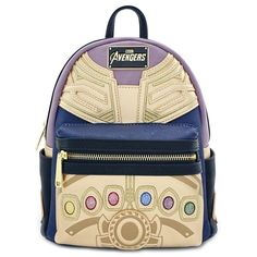 Avengers Endgame Thanos Loungefly Faux Leather Mini Backpack New w/ tags for sale online Marvel Backpack, Diaper Bag Backpack, Mini Backpack, Fashion Backpack, Diaper Bags, Moda Pop, Marvel Clothes, Rolling Backpack, Fashion Handbags