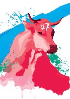 Vache peinture numérique pour Festival du coin