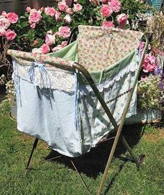 Sweet Magnolias Farm Sneek Peek Authentic Vintage Laundry Cart with upcycled Laundry Bag on its way to the next Vintage Marketplace June and 2012 Sweet Magnolia, Magnolia Farms, Magnolia Homes, Laundry Cart, Laundry Basket, What A Nice Day, Tv Trays, Vintage Laundry, Doing Laundry