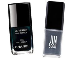 Chanel nail lacquer in Vert Obscur, $27; chanel.com and Jin Soon nail lacquer in Cantata make for the perfect alternative French mani.
