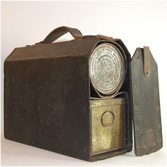 Antique lunch box with metal thermos