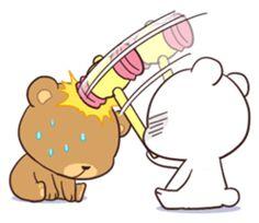 Bear Couple : Milk & Mocha by Shortie sticker Cute Couple Cartoon, Cute Cartoon Pictures, Cute Love Pictures, Cute Love Cartoons, Gif Lindos, Memes Lindos, Cute Love Gif, Cute Cat Gif, Mocha