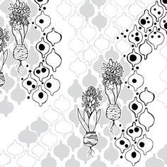 WZÓR DNIA: czarno-białe hiacynty #czarnobiałe #hiacynty #kwiaty #cottonbee  PATTERN OF THE DAY: black and white hyacints  #blackandwhite #hyacints #flowers #flower #style #design  http://cottonbee.pl/tkaniny/czarno-biale/5295-hiacynty.html?utm_source=pinterest. com&utm_medium=social&utm_campaign=nonstop