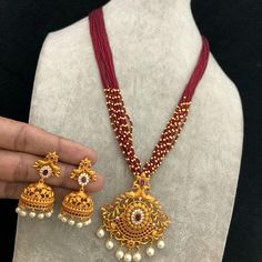 Temple jewellery available at AnkhJewels Booking msg on Jewelry Design Earrings, Beaded Jewelry Designs, Gold Earrings Designs, Bead Jewellery, Temple Jewellery, Pendant Jewelry, Gold Bangles Design, Gold Jewellery Design, Gold Jewelry