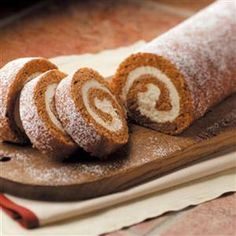 This pumpkin cake roll is great to keep in the freezer for a quick dessert for my family or unexpected guests, to take to a gathering or to give as a yummy gift. The recipe is in such demand, I use a can of pumpkin to make four rolls at a time. Pumpkin Roll Cake, Pumpkin Dessert, Pumpkin Rolls, Pumpkin Pumpkin, Pumkin Cake, Large Pumpkin, Pumpkin Pudding, Pecan Cake, Pumpkin Pancakes
