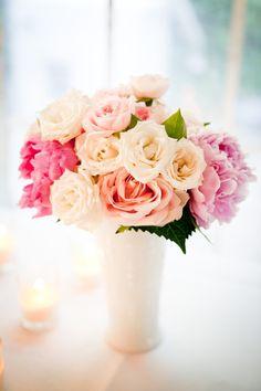 Milk glass centerpiece. Photography by cageandaquarium.com, Floral Design by pollenfloraldesign.com