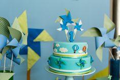 Bolo - Festa de Aniversário Infantil Cataventos e Balões