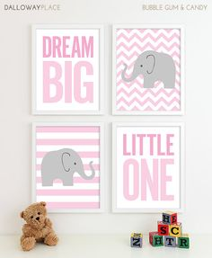 Baby Elephant Nursery Art. This could work for a boy or a girl really, if you use differnet colors.