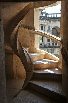 Spiral stone stairway in The convent of the Order of Christ, Tomar, Portugal
