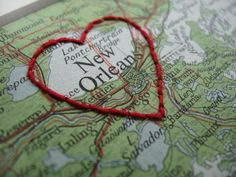 New Orleans map - Cute embroidery :) Lake Pontchartrain, New Orleans Mardi Gras, New Orleans Louisiana, Cute Embroidery, Bourbon Street, All Things New, Crescent City, My Heart, Map