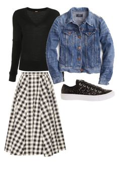 modest gingham skirt outfit Skirt Outfits, Casual Outfits, Gingham Skirt, Wearing Black, Outfit Of The Day, Denim, Skirts, How To Wear, Jackets