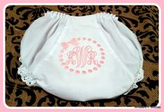 Monogrammed Bloomers available Check out this item in my Etsy shop https://www.etsy.com/listing/231670405/monogrammed-eyelet-trim-bloomers