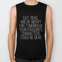 Biker Tank featuring Eat, Read, and be Merry... (inverted) by bookwormboutique