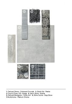 A combination of grey shades and textures in LVT and carpet. Material Board, Luxury Vinyl Tile, Carpet Tiles, Bangkok, Design Projects, Showroom, Design Inspiration, Meet, Shades