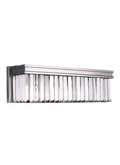 Antique Brushed Nickel Linear Glass Crystal 3 Light Wall/Bath