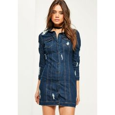 Missguided Fitted Ripped Denim Shirt Dress ($63) ❤ liked on Polyvore featuring dresses, blue, t-shirt dresses, denim shirt dress, shirt dress, fitted denim dress and ripped dress