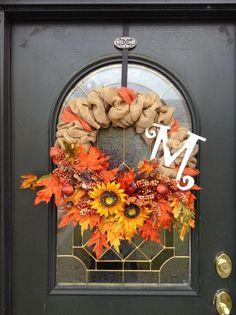 burlap fall wreath   Fall Burlap Wreath