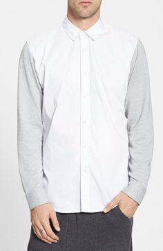 Publish Brand Men's Barcena Oxford Shirt with Terry Knit Sleeves | Top and Clothing