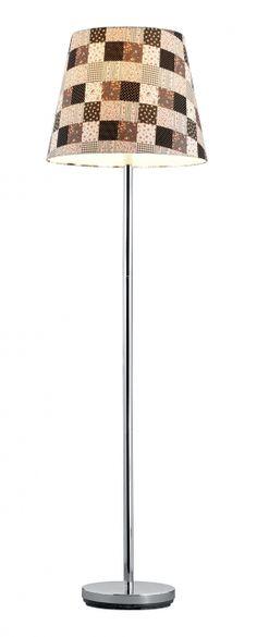 4016 - TRIO - stojanová lampa - textil s károvaným vzorom
