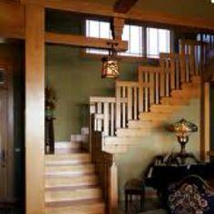 Craftsman staircase. Love the lantern!