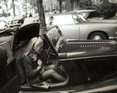 Catherine Deneuve in her Morgan Plus 4 Drophead Coupe,1967