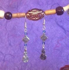 Antique Silver Spiral and Crystal Earrings by BeverlyJaneCreations