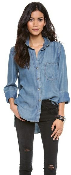 This looks so comfy and laidback! - Bella Dahl Button Down Shirt on shopstyle.com