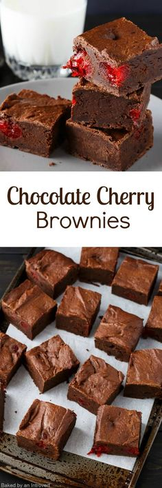 These homemade chocolate cherry brownies are much better than packaged brownies but just as easy to make! The slightly sweet, dense chocolate brownie is dotted with maraschino cherries for that classic chocolate covered cherry flavor we all know and love.