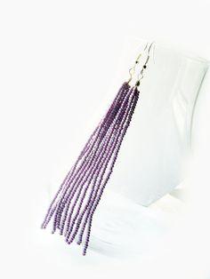 Beaded long dangle earring by juditpukkai on Etsy Beaded Tassel Earrings, Beaded Jewelry, Handmade Jewelry, Unique Jewelry, Handmade Gifts, Pj, Tassels, Dangles, Coupon