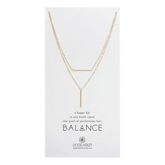 balance bar with vertical tube double chain necklace, gold dipped