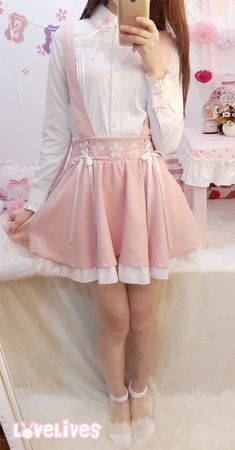 Sakura embroidered pink suspender skirt sold by Dejavu Cat. Shop more products from Dejavu Cat on Storenvy, the home of independent small businesses all over the world. Harajuku Fashion, Kawaii Fashion, Lolita Fashion, Cute Fashion, Fashion Outfits, Girly Outfits, Pretty Outfits, Cute Outfits, Japanese Outfits