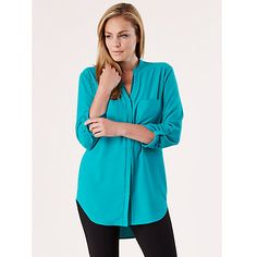Looks like a good colour. Wear over white skinnies. Buy Celuu Georgia Longline Roll Sleeve Blouse, Green Online at johnlewis.com