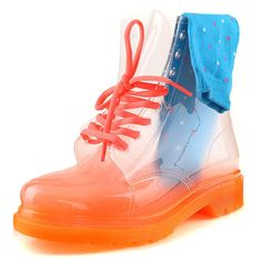 VELCANS Crystal Transparent Combat LaceUp Women Rain Boot Additional Five Socks and Shoelace >>> To view further for this item, visit the image link.