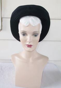 1940s Vintage Navy Blue Wide Brim Hat by MyVintageHatShop on Etsy