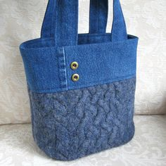 Blue Wool and Denim Tote, Eco Friendly Upcycled Sweater Wool and Denim Bag. ---LOVE this!!!
