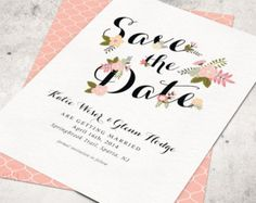 Hand painted flowers save the date