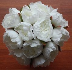 1x Silk White Cream Posy Wedding Flower Bouquet Fake Flowers Peony Peonie