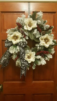 Products Christmas Wreath For Front Door, Christmas Wreath, Christmas Magnolia Wreath, Winter Wreath Christmas Wreaths For Front Door, Holiday Wreaths, Door Wreaths, Holiday Crafts, Christmas Decorations, Christmas Ornaments, Magnolia Wreath, Christmas Images, Christmas Time