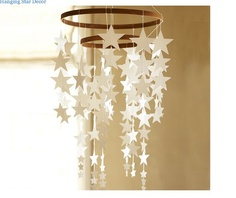 DIY hanging star mobile from pottery barn kids Pottery Barn Kids, Star Decorations, Christmas Decorations, Nursery Decor, Room Decor, Nursery Ideas, Baby Decor, Girl Nursery, Hanging Stars