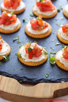 Creamy Bruschetta Bites and other bite sized cracker appetizers