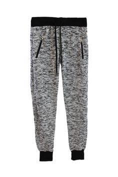Zip Pocket Marled Knit Jogger Sweatpants