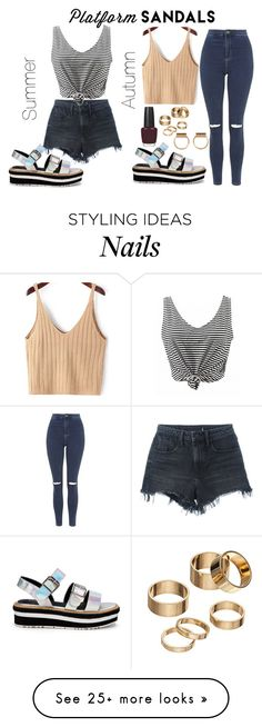 """""""Stand Up! Platform Sandals"""" by jesslouise44 on Polyvore featuring Alexander Wang, Topshop, OPI, Apt. 9, stripes, Silver, platforms and summertofall"""