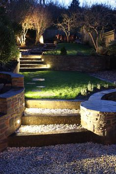 Image result for garden stair lighting