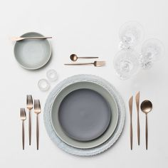 RENT: Lace Chargers in Dusty Blue + Heath Ceramics in Indigo/Slate/Mist + Moon Flatware in Brushed Rose Gold + Czech Crystal Stemware + Antique Crystal Salt Cellars SHOP:Moon Flatware in Brushed Rose Gold Dinner Sets, Dinner Table, Dinner Plates, Rose Gold Flatware, Kitchenware, Tableware, Heath Ceramics, Crystal Stemware, Deco Table