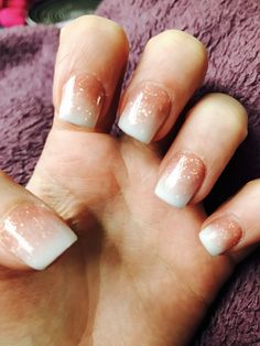 Super cute short ombré French rose gold glitter fade acrylics